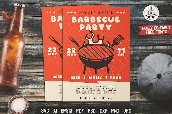 Thumbnail for Barbecue Party dépliant Modèle d'affiche pour barbecue d'été