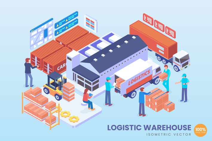 Thumbnail for Isometric Logistic Warehouse System Vector Concept