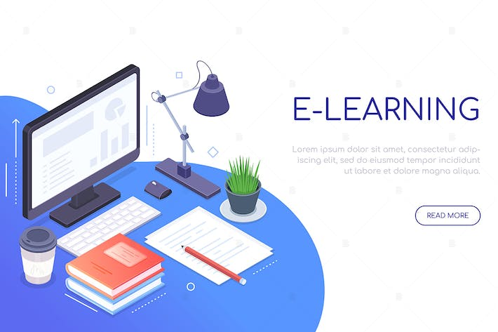 Thumbnail for E-learning concept - colorful isometric web banner