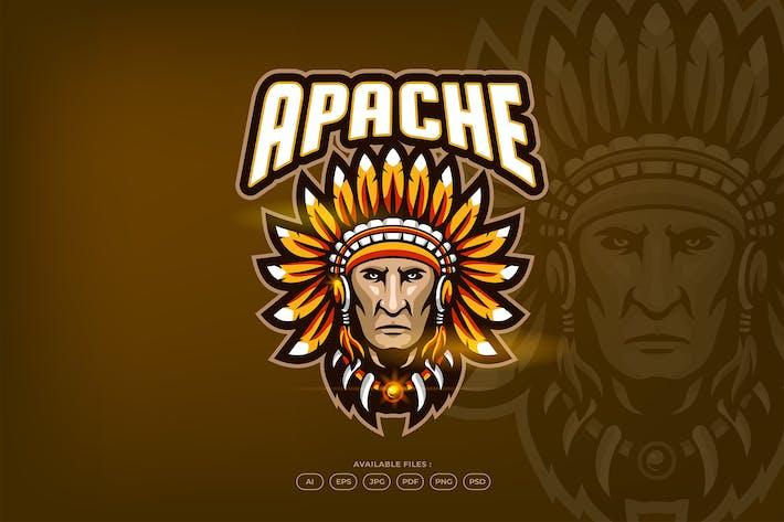 Native Apache Indian Warrior Mascot Logo Template