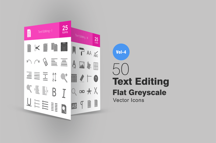 Thumbnail for 50 Text Editing Greyscale Icons
