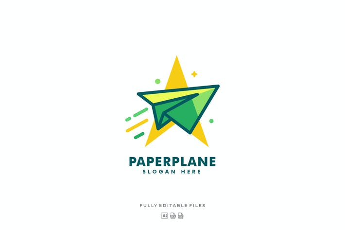 Thumbnail for Simple Modern Paper Plane Color Logo