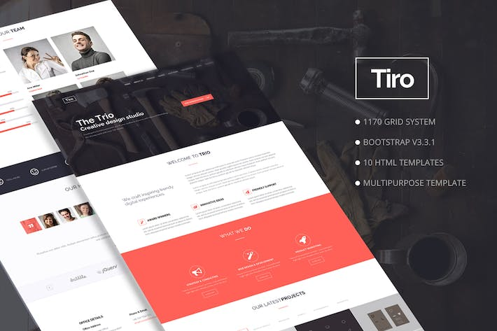 Cover Image For Trio - Bootstrap Responsive Multipurpose Template