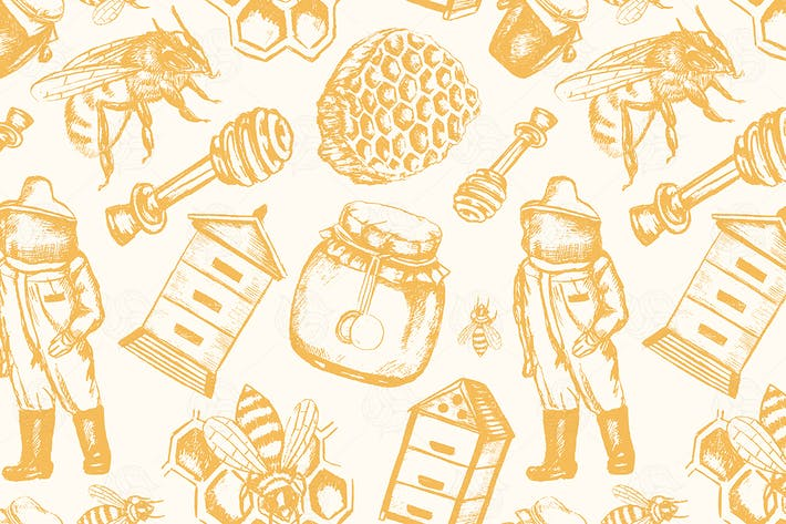 Thumbnail for Bee Garden - hand drawn seamless pattern