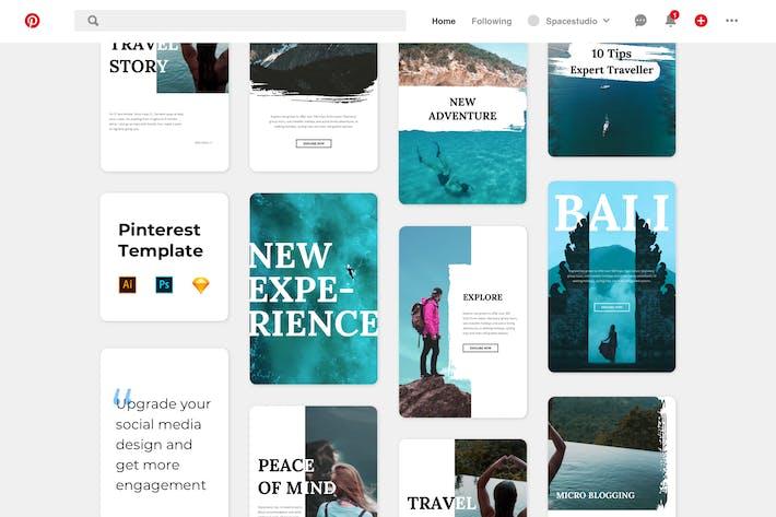 Thumbnail for Pinterest Templates - Brush Travel Minimalist