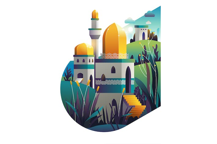 Thumbnail for Mosque background with isolated in white. Vector i