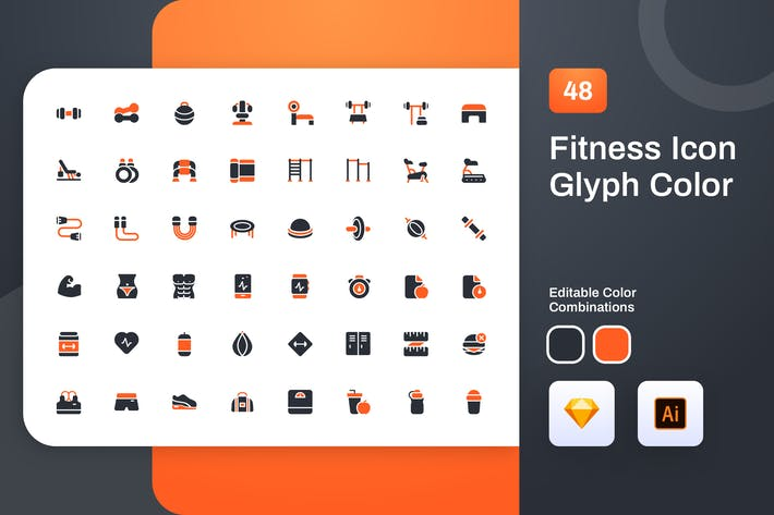 Thumbnail for Fitness Glyph Color Icon Set