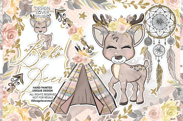Thumbnail for Boho Deer Cute design