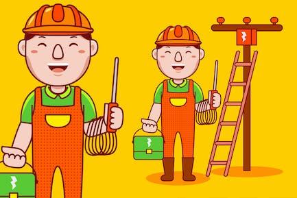 Man Electrician Profession Cartoon Vector