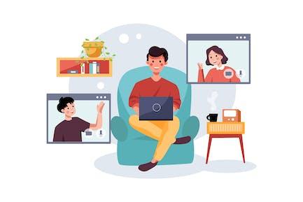 Online-Kurs mit Personen, die sprechen
