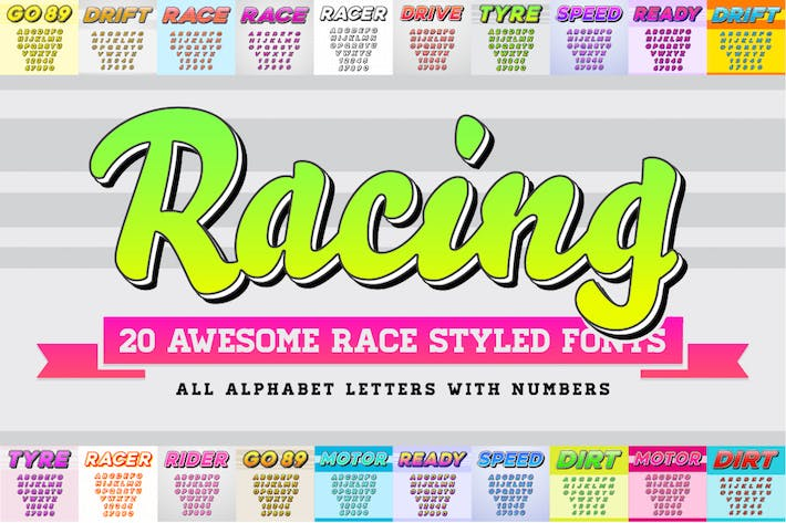 Thumbnail for Awesome 20 Racing Fonts in Vector