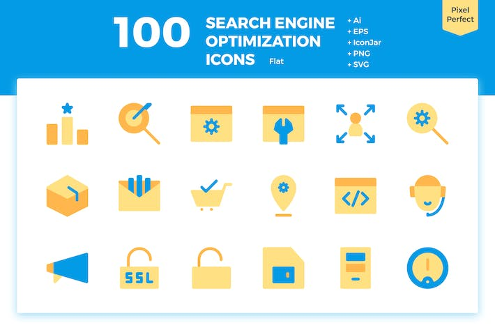 Thumbnail for 100 Search Engine Optimization Icons (Flat)