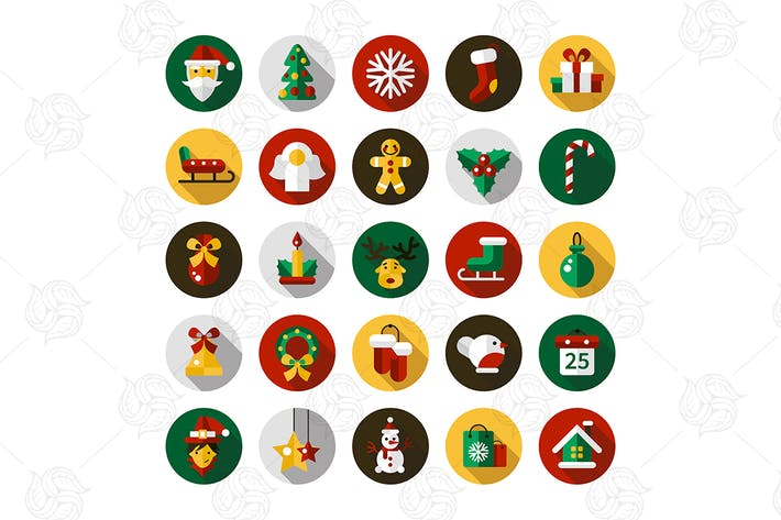 Thumbnail for Christmas & New Year Flat Design Icons Set