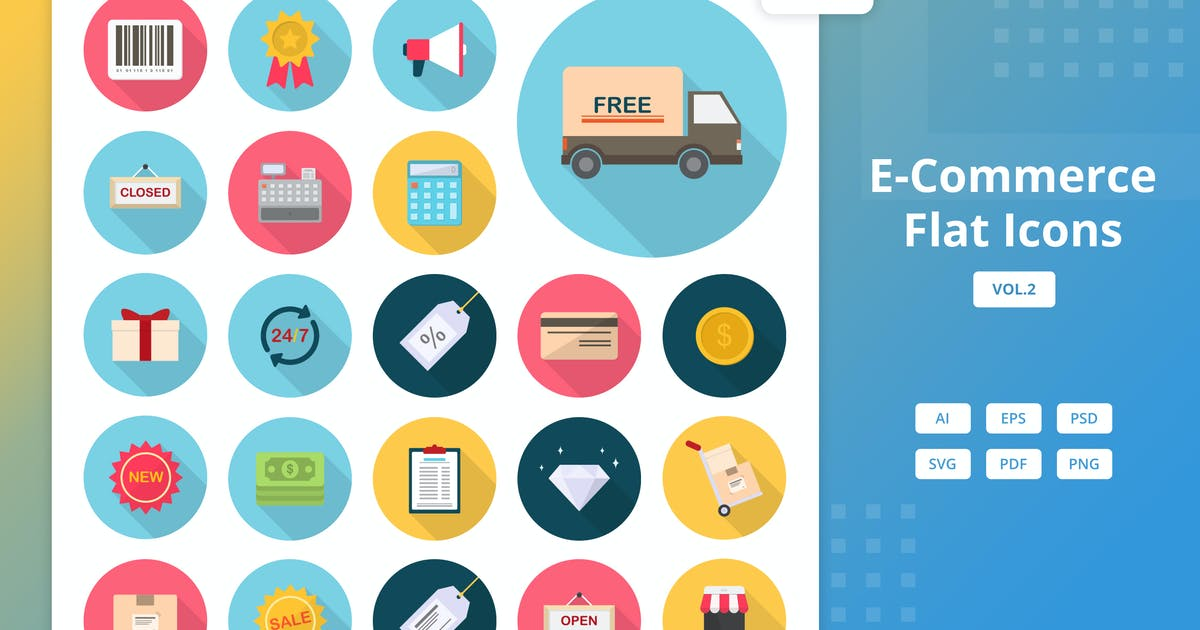Download E-Commerce - Flat Icons Vol.2 by Graphiqa