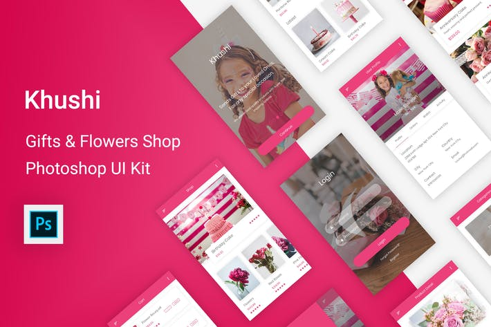 Cover Image For Khushi - Gifts & Flowers Shop UI Kit (Photoshop)