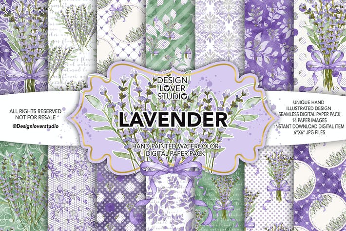 Thumbnail for Watercolor LAVENDER digital paper pack