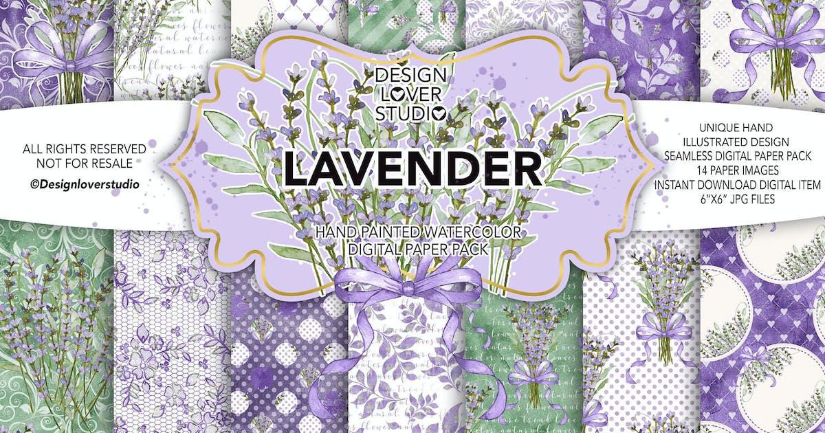 Download Watercolor LAVENDER digital paper pack by designloverstudio