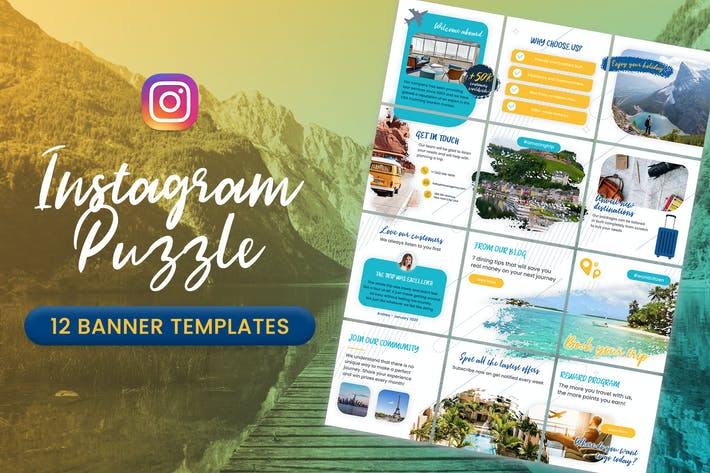 Thumbnail for Travel Instagram Puzzle Banners