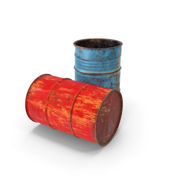 Ржавые барабаны для отработанного масла