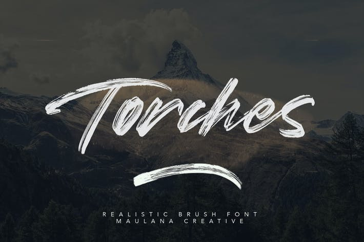 Thumbnail for Torches Realistic Brush Font