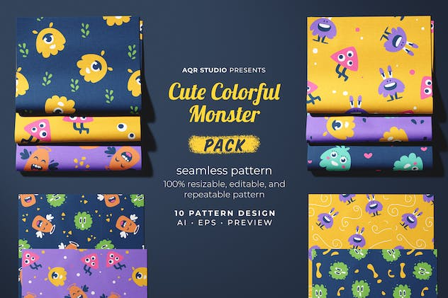 Cute Colorful Monster - Seamless Pattern