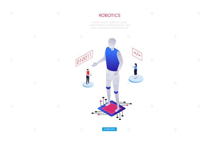 Thumbnail for Robotics concept - modern isometric web banner