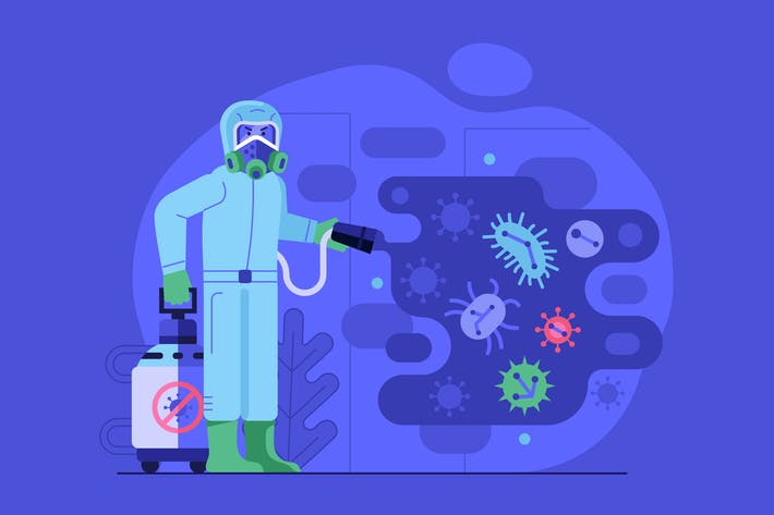Virus Disinfection Worker in Costume