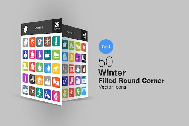 50 Winter Flat Round Corner Icons