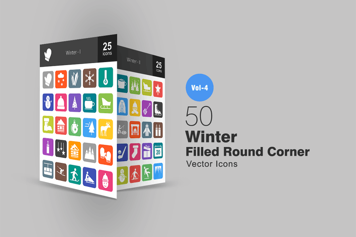 Thumbnail for 50 Winter Flat Round Corner Icons