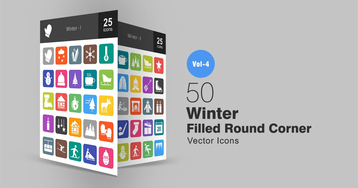 Download 50 Winter Flat Round Corner Icons by IconBunny