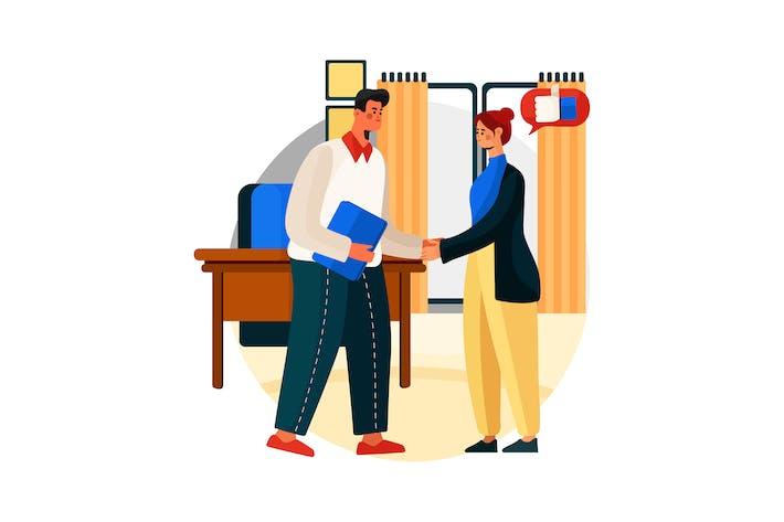 Schnelle Interaktion mit Kunden Vektorillustration