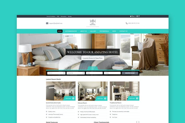 Cover Image For My Hotel - Hotel Booking PSD Template