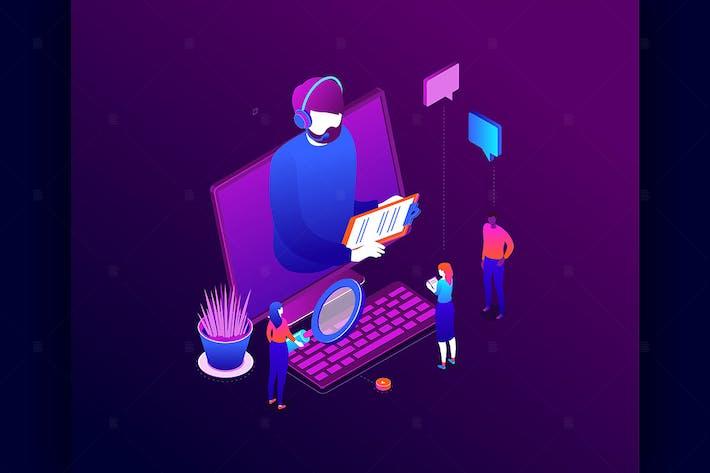 Technische Unterstützung - isometrische Illustration
