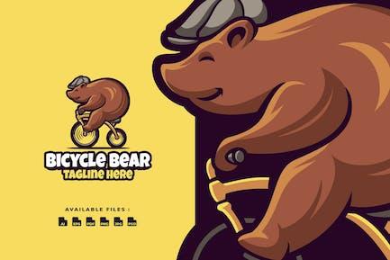 bycicle Bear Cartoon Logo