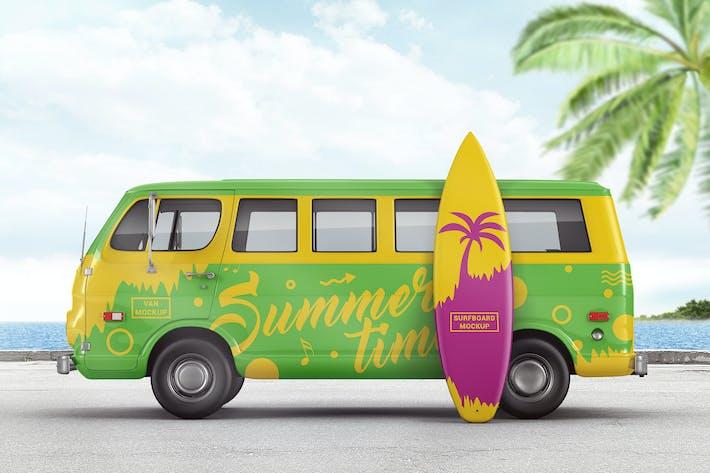 Thumbnail for Van With Surfboard Branding Mockup