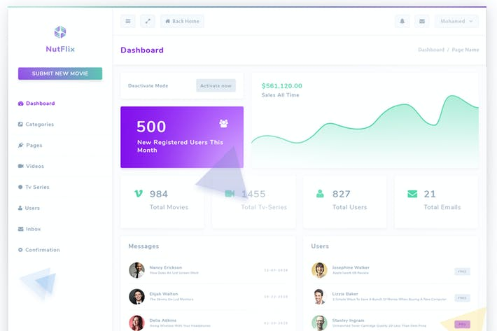 Thumbnail for Nutflix - Bootstrap Admin Template