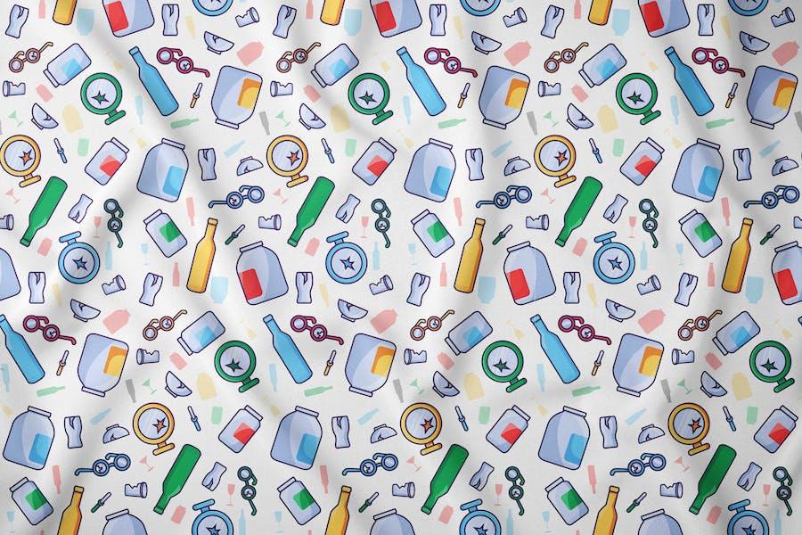 Glass Waste Seamless Pattern
