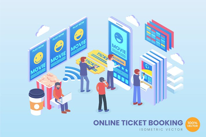 Thumbnail for Isometric Online Ticket Booking Vector Concept