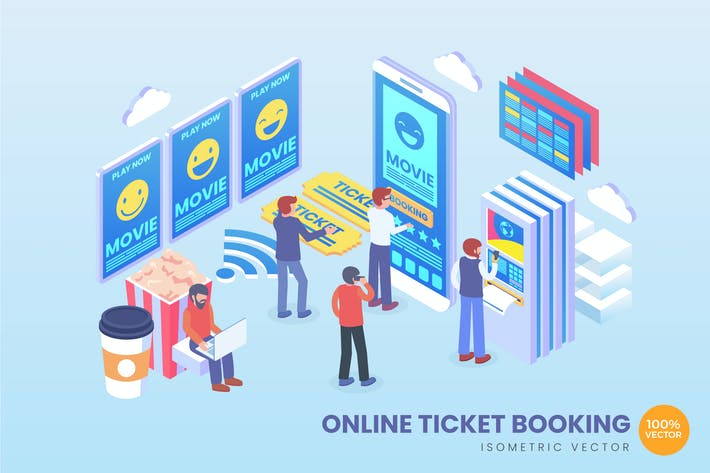 Isometrische Online-Ticketbuchung Vektor Concept