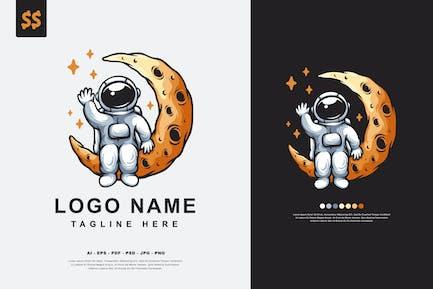Logo de personnage astronaute de la lune