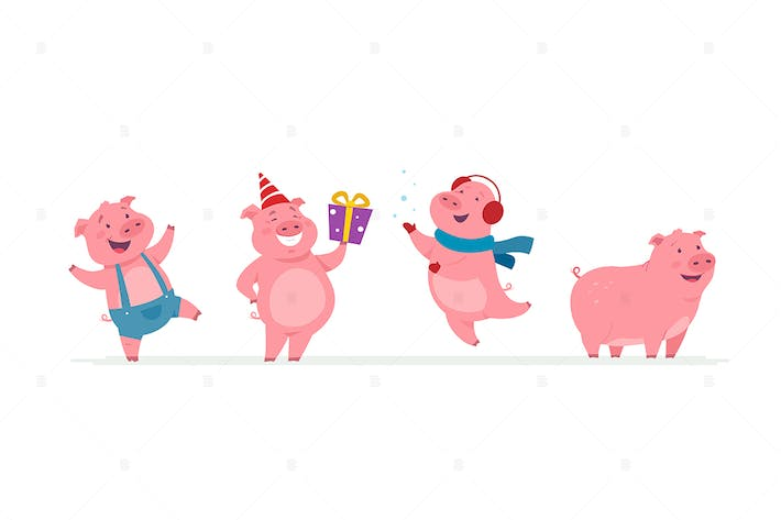 Thumbnail for New year pigs - cartoon characters set