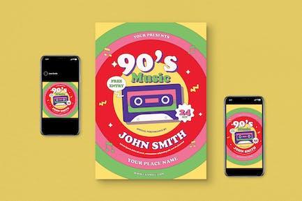 90s Music Flyer Set