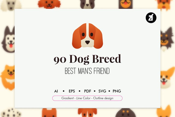Thumbnail for 90 Dog breed elements