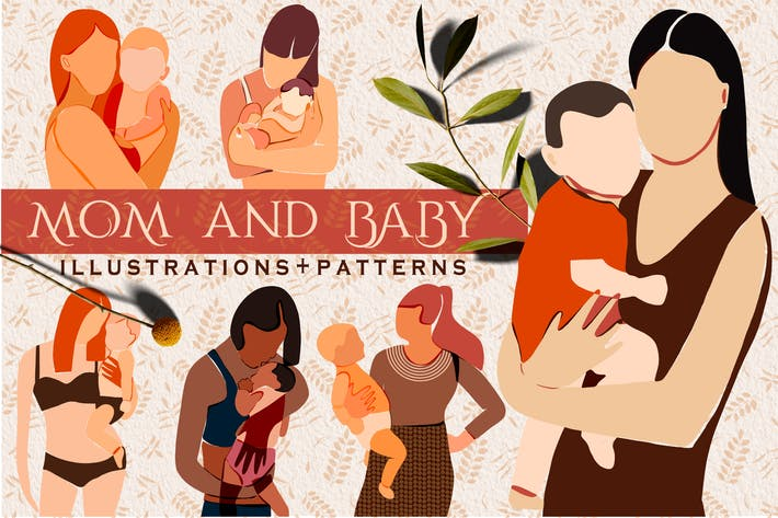 "Thumbnail for ""Mom and Baby"" Modern art+pattern"
