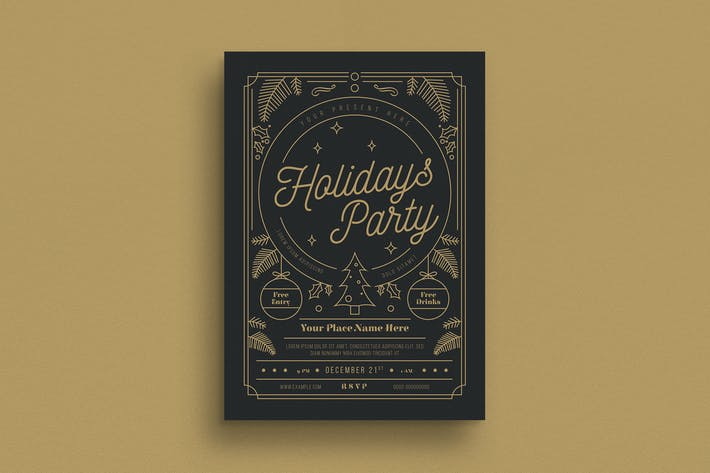 Cover Image For Gold Holiday Party Flyer
