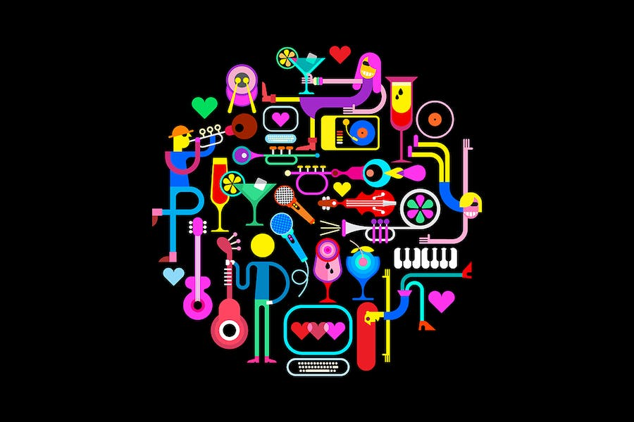 Music Party Round Shape Vector Illustration