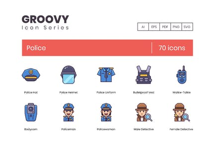 70 Police Line Icons