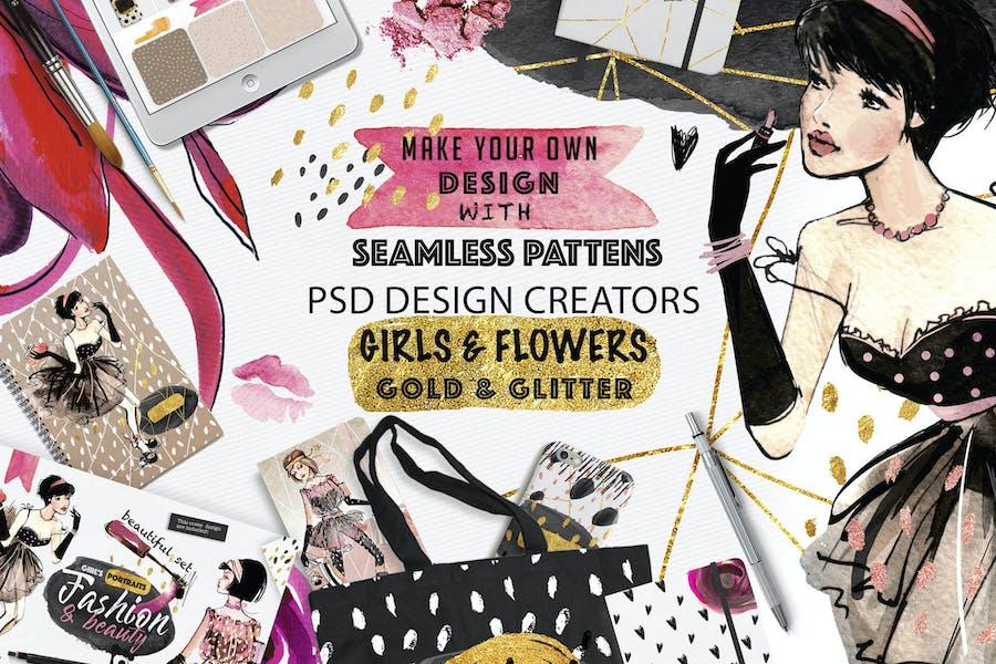 Mode-Deal Mädchen und Muster