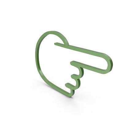 Icono verde de un dedo