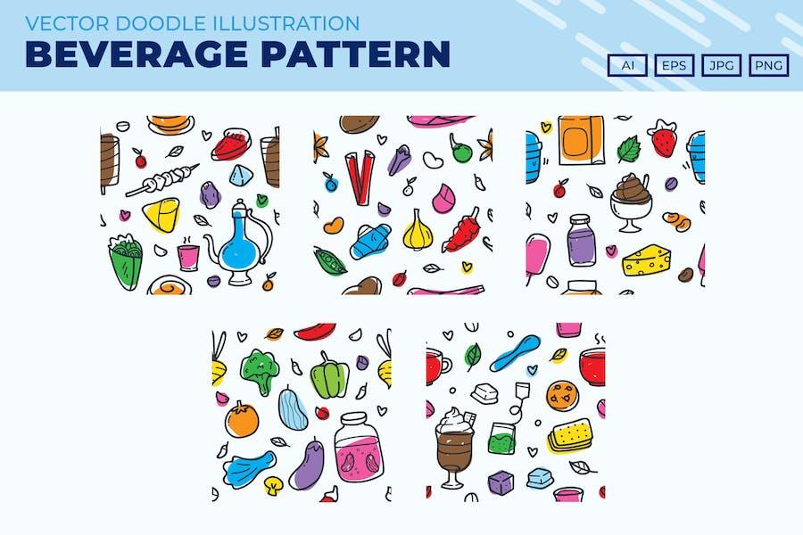 Food and Beverage doodle pattern